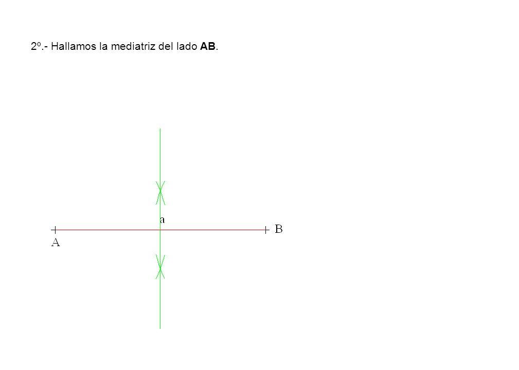 2º.- Hallamos la mediatriz del lado AB.