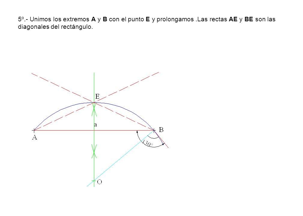 5º.- Unimos los extremos A y B con el punto E y prolongamos.Las rectas AE y BE son las diagonales del rectángulo.