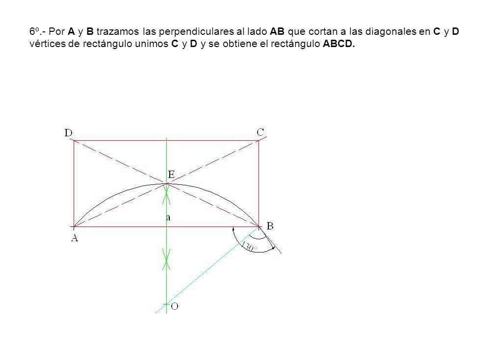 6º.- Por A y B trazamos las perpendiculares al lado AB que cortan a las diagonales en C y D vértices de rectángulo unimos C y D y se obtiene el rectán