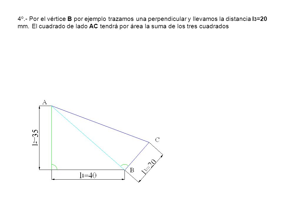4º.- Por el vértice B por ejemplo trazamos una perpendicular y llevamos la distancia l 3 =20 mm. El cuadrado de lado AC tendrá por área la suma de los