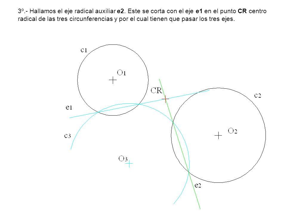 3º.- Hallamos el eje radical auxiliar e2. Este se corta con el eje e1 en el punto CR centro radical de las tres circunferencias y por el cual tienen q