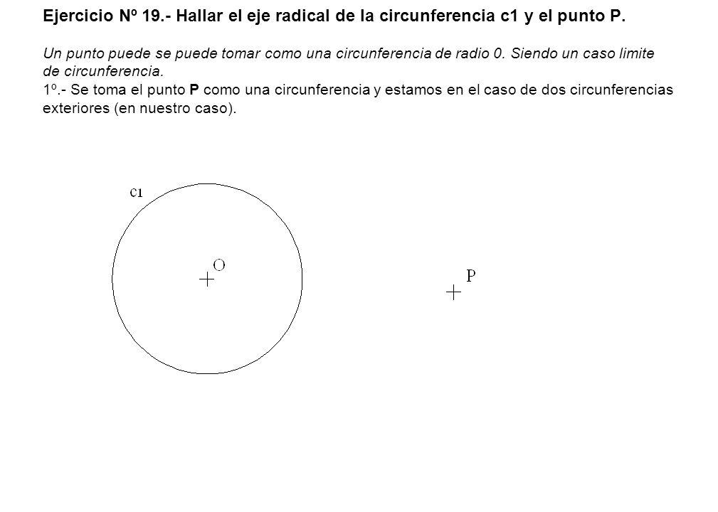 Ejercicio Nº 19.- Hallar el eje radical de la circunferencia c1 y el punto P. Un punto puede se puede tomar como una circunferencia de radio 0. Siendo