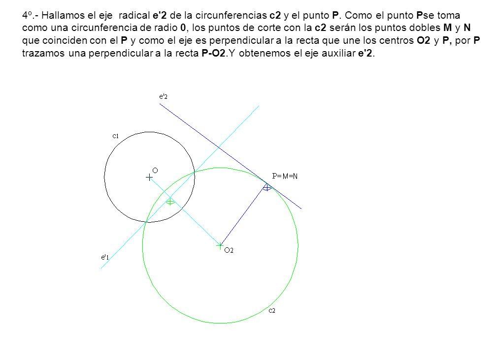 4º.- Hallamos el eje radical e'2 de la circunferencias c2 y el punto P. Como el punto Pse toma como una circunferencia de radio 0, los puntos de corte