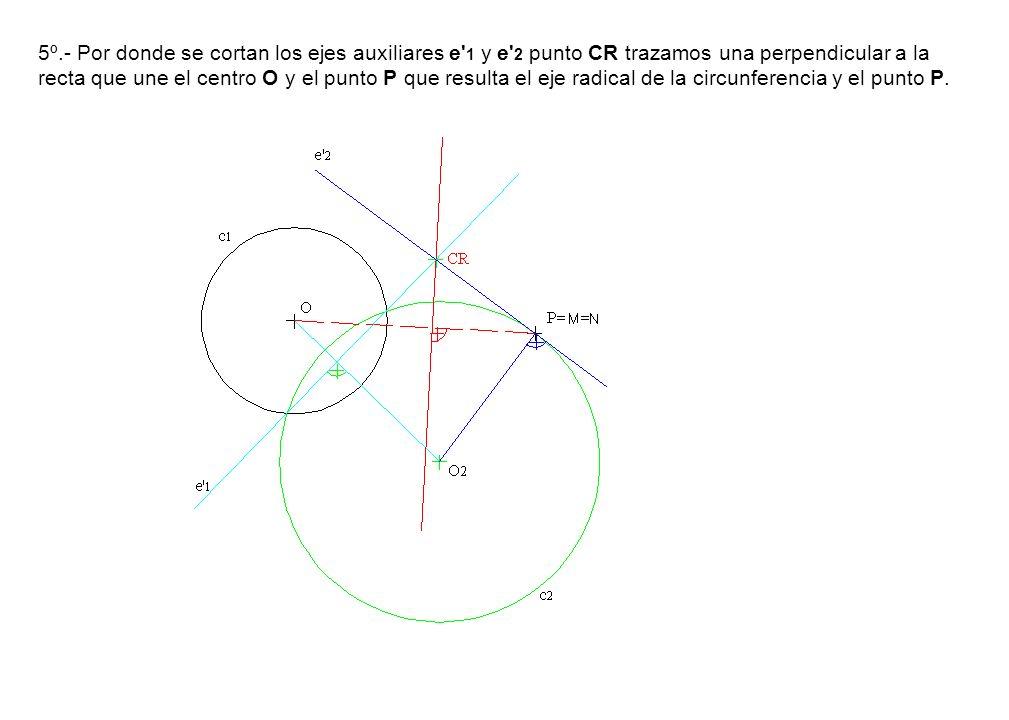 5º.- Por donde se cortan los ejes auxiliares e' 1 y e' 2 punto CR trazamos una perpendicular a la recta que une el centro O y el punto P que resulta e