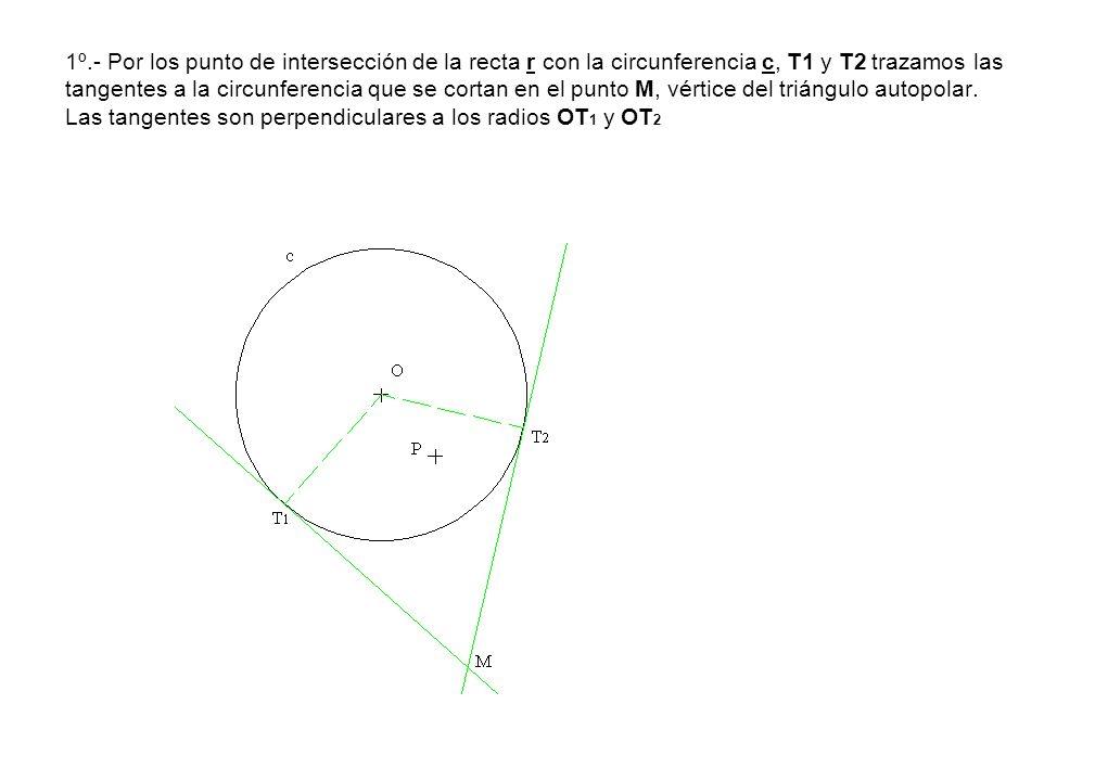 1º.- Por los punto de intersección de la recta r con la circunferencia c, T1 y T2 trazamos las tangentes a la circunferencia que se cortan en el punto