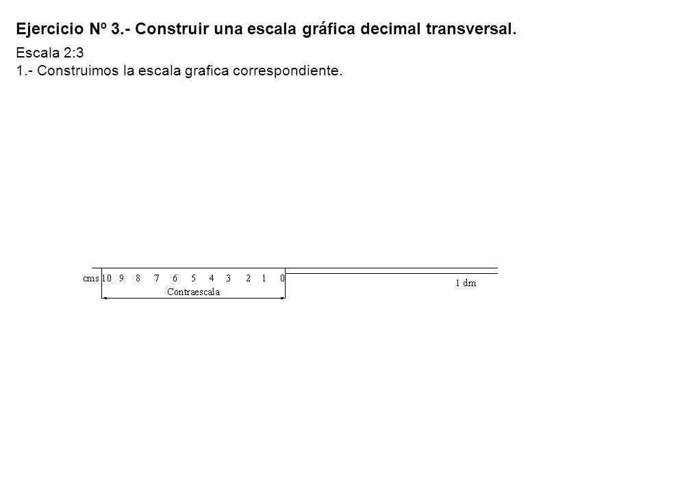 Ejercicio Nº 3.- Construir una escala gráfica decimal transversal. Escala 2:3 1.- Construimos la escala grafica correspondiente.