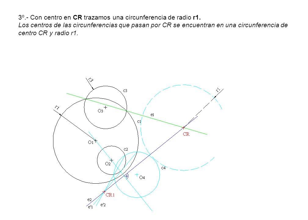 3º.- Con centro en CR trazamos una circunferencia de radio r1. Los centros de las circunferencias que pasan por CR se encuentran en una circunferencia