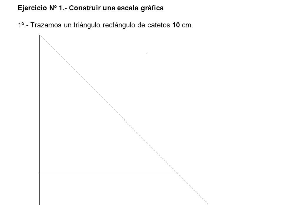 Ejercicio Nº 1.- Construir una escala gráfica 1º.- Trazamos un triángulo rectángulo de catetos 10 cm..