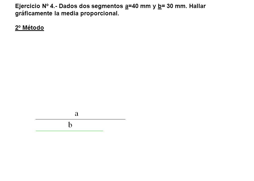 Ejercicio Nº 4.- Dados dos segmentos a=40 mm y b= 30 mm. Hallar gráficamente la media proporcional. 2º Método