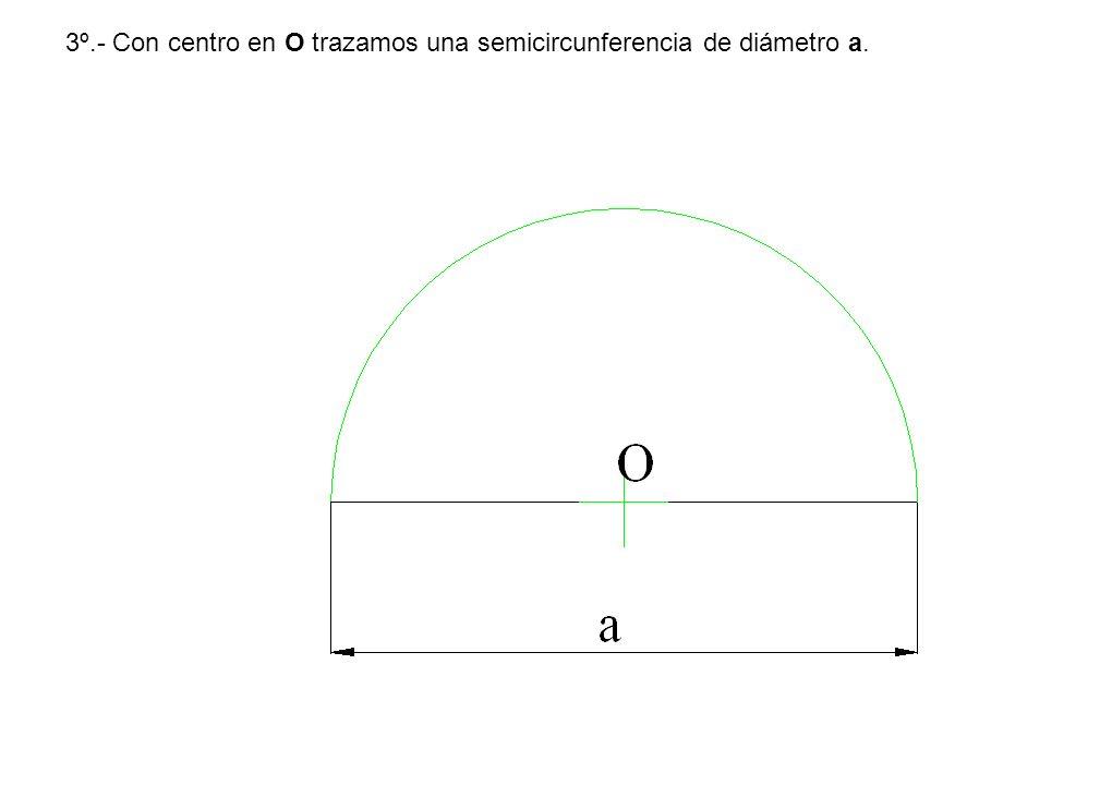 3º.- Con centro en O trazamos una semicircunferencia de diámetro a.