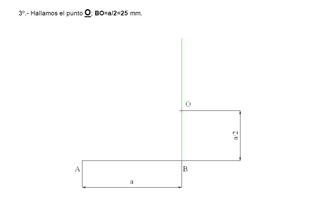 3º.- Hallamos el punto O ; BO=a/2=25 mm.