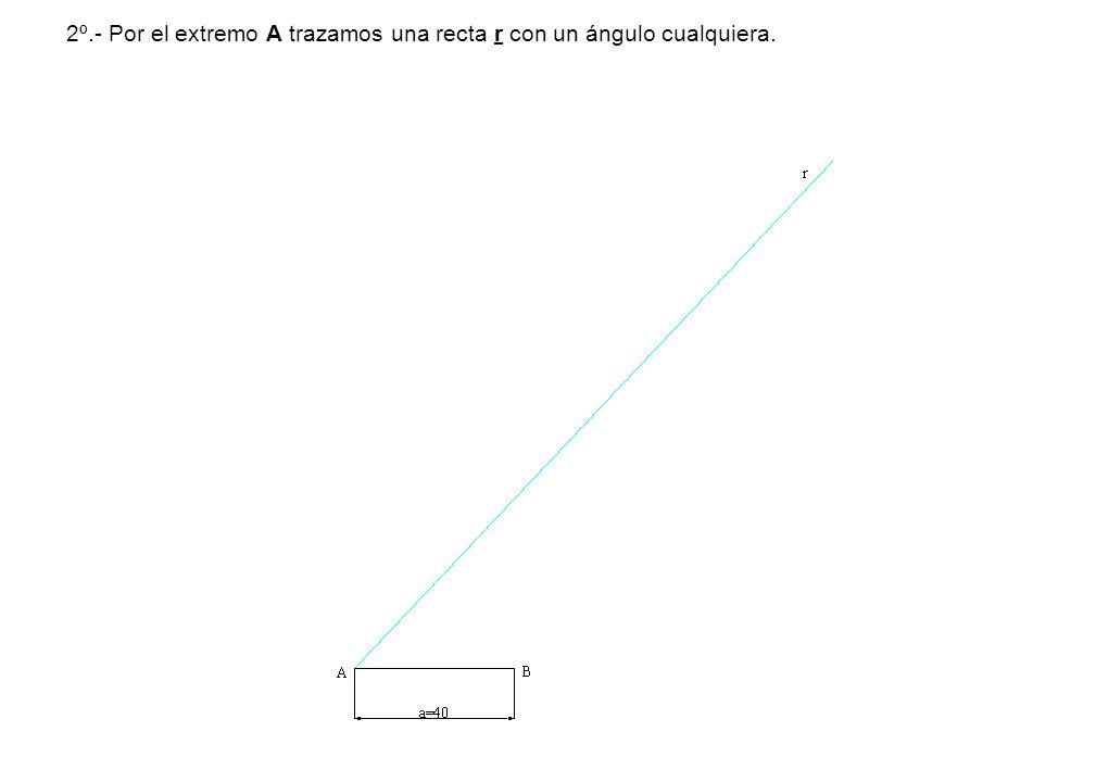 2º.- Por el extremo A trazamos una recta r con un ángulo cualquiera.