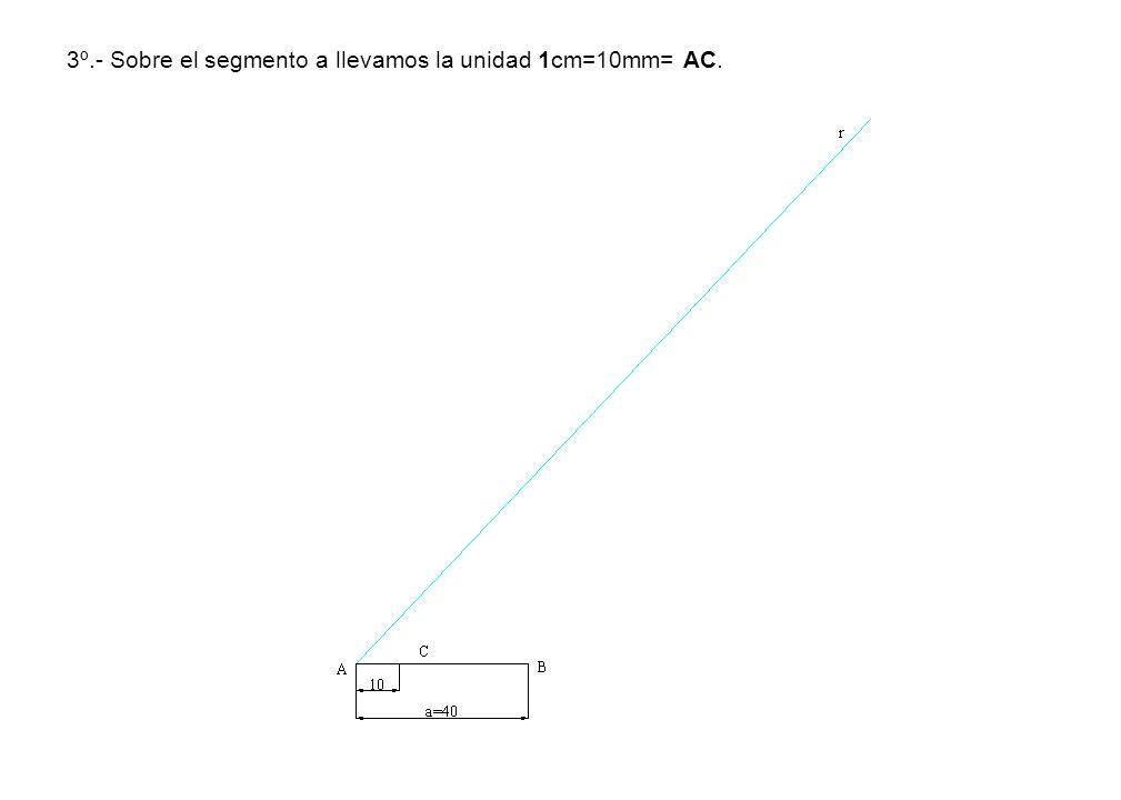 3º.- Sobre el segmento a llevamos la unidad 1cm=10mm= AC.