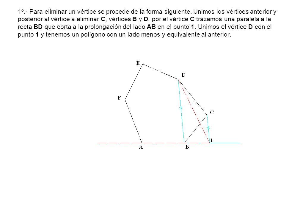 1º.- Para eliminar un vértice se procede de la forma siguiente. Unimos los vértices anterior y posterior al vértice a eliminar C, vértices B y D, por