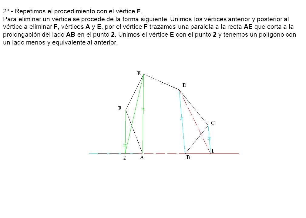 2º.- Repetimos el procedimiento con el vértice F. Para eliminar un vértice se procede de la forma siguiente. Unimos los vértices anterior y posterior