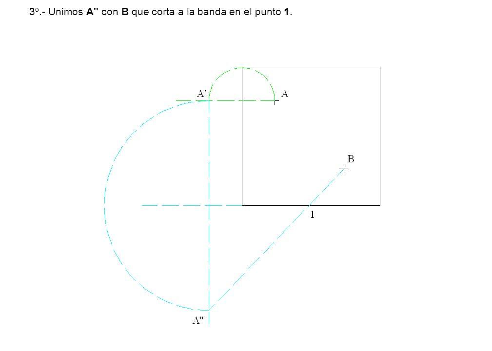 3º.- Unimos A'' con B que corta a la banda en el punto 1.
