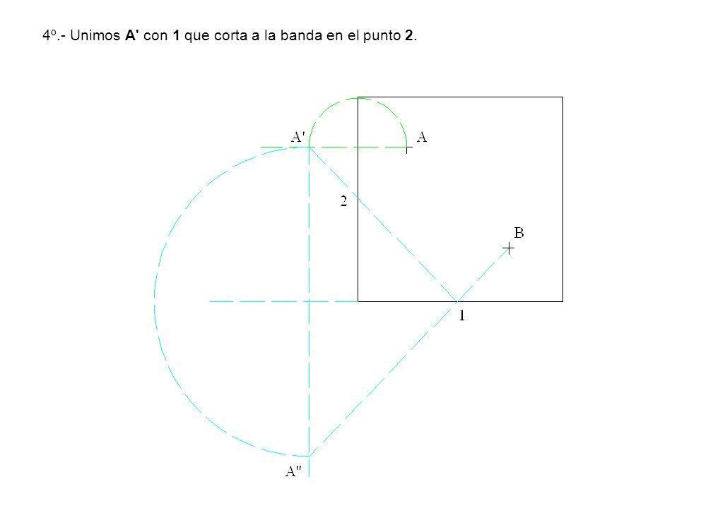 4º.- Unimos A' con 1 que corta a la banda en el punto 2.