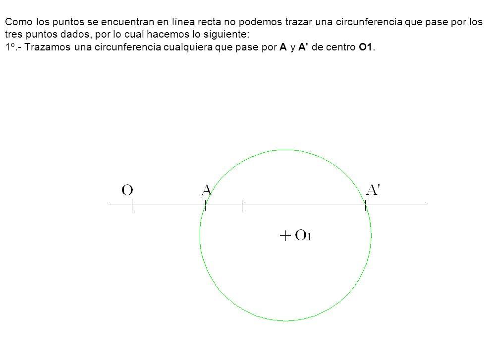 Como los puntos se encuentran en línea recta no podemos trazar una circunferencia que pase por los tres puntos dados, por lo cual hacemos lo siguiente