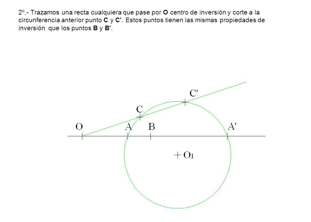 2º.- Trazamos una recta cualquiera que pase por O centro de inversión y corte a la circunferencia anterior punto C y C'. Estos puntos tienen las misma