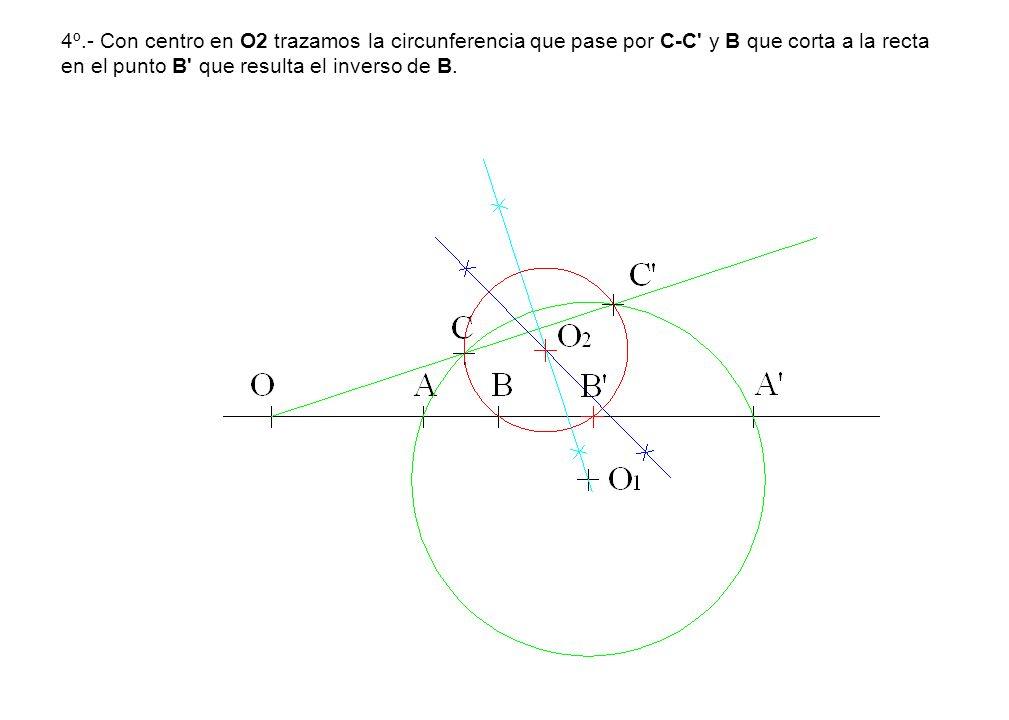 4º.- Con centro en O2 trazamos la circunferencia que pase por C-C' y B que corta a la recta en el punto B' que resulta el inverso de B.