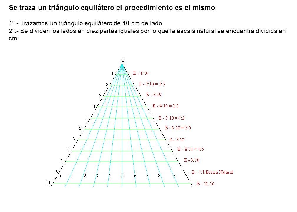 Se traza un triángulo equilátero el procedimiento es el mismo. 1º.- Trazamos un triángulo equilátero de 10 cm de lado 2º.- Se dividen los lados en die