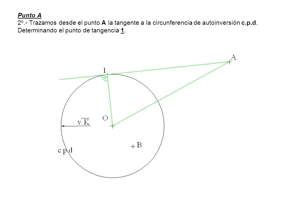 Punto A 2º.- Trazamos desde el punto A la tangente a la circunferencia de autoinversión c.p.d. Determinando el punto de tangencia 1.
