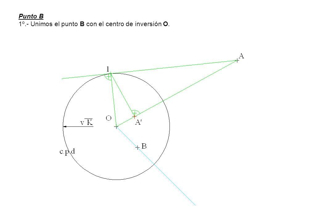 Punto B 1º.- Unimos el punto B con el centro de inversión O.