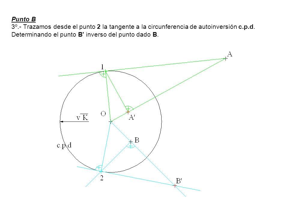 Punto B 3º.- Trazamos desde el punto 2 la tangente a la circunferencia de autoinversión c.p.d. Determinando el punto B' inverso del punto dado B.