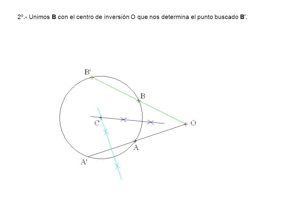 2º.- Unimos B con el centro de inversión O que nos determina el punto buscado B'.
