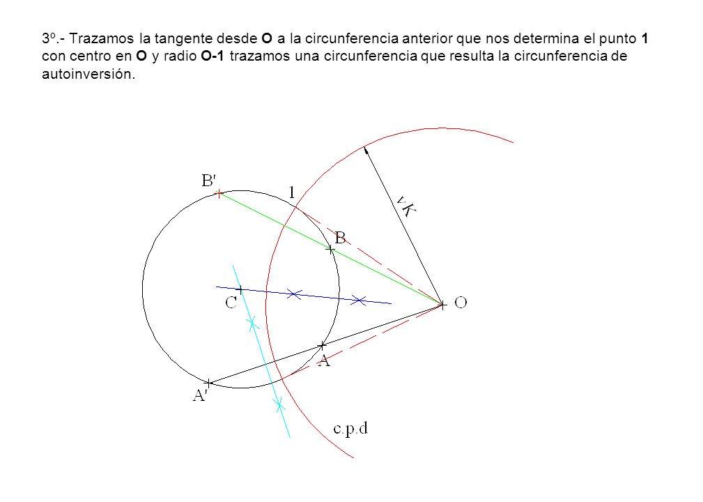 3º.- Trazamos la tangente desde O a la circunferencia anterior que nos determina el punto 1 con centro en O y radio O-1 trazamos una circunferencia qu