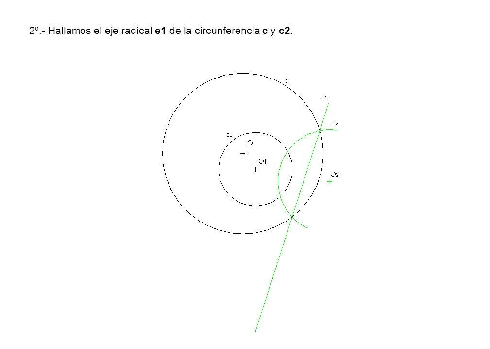 2º.- Hallamos el eje radical e1 de la circunferencia c y c2.