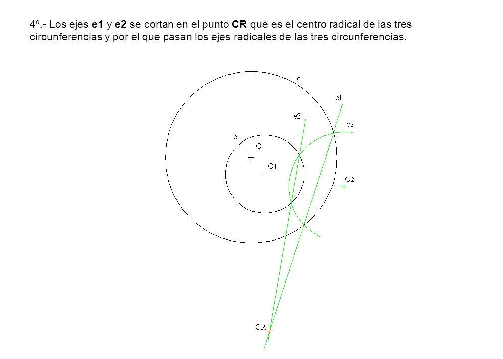 4º.- Los ejes e1 y e2 se cortan en el punto CR que es el centro radical de las tres circunferencias y por el que pasan los ejes radicales de las tres