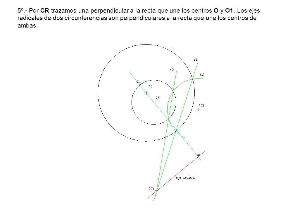 5º.- Por CR trazamos una perpendicular a la recta que une los centros O y O1. Los ejes radicales de dos circunferencias son perpendiculares a la recta