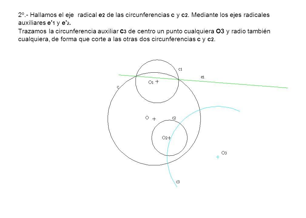 2º.- Hallamos el eje radical e 2 de las circunferencias c y c 2. Mediante los ejes radicales auxiliares e' 1 y e' 2. Trazamos la circunferencia auxili
