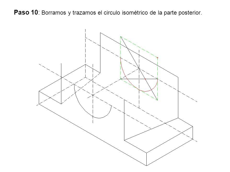 Paso 10: Borramos y trazamos el circulo isométrico de la parte posterior.