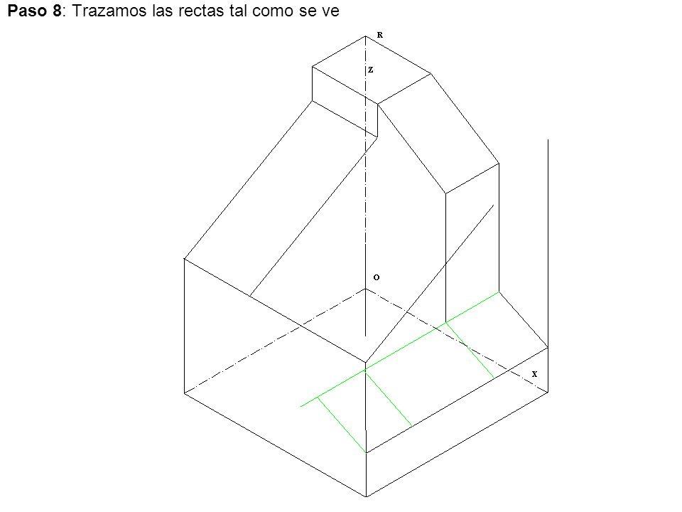 Paso 8: Trazamos las rectas tal como se ve