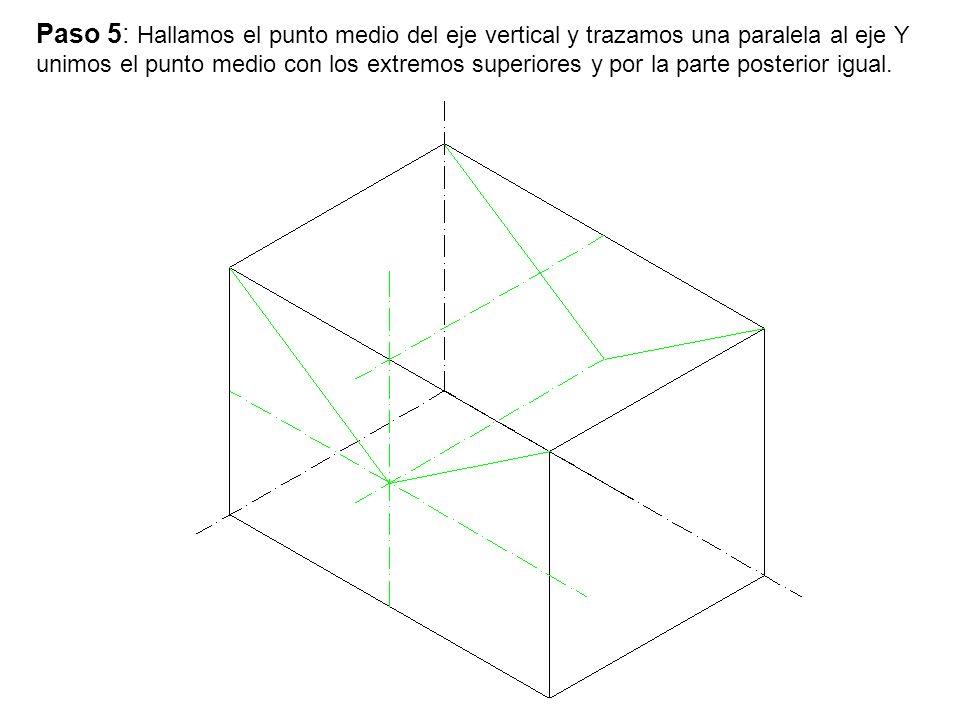 Paso 5: Hallamos el punto medio del eje vertical y trazamos una paralela al eje Y unimos el punto medio con los extremos superiores y por la parte pos