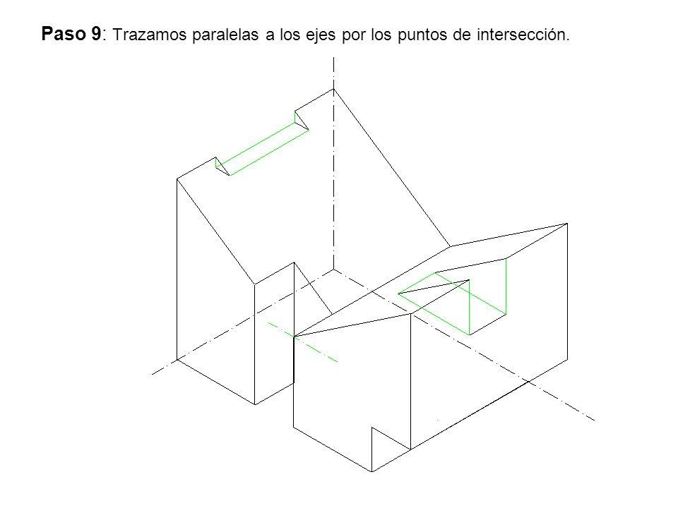 Paso 9: Trazamos paralelas a los ejes por los puntos de intersección.