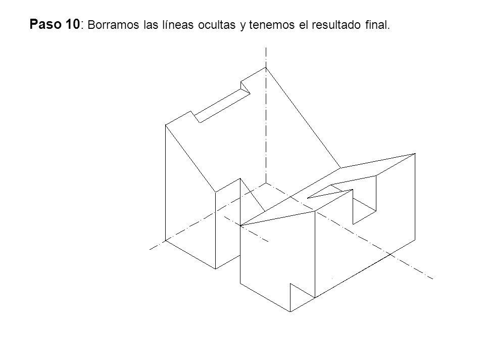 Paso 10: Borramos las líneas ocultas y tenemos el resultado final.