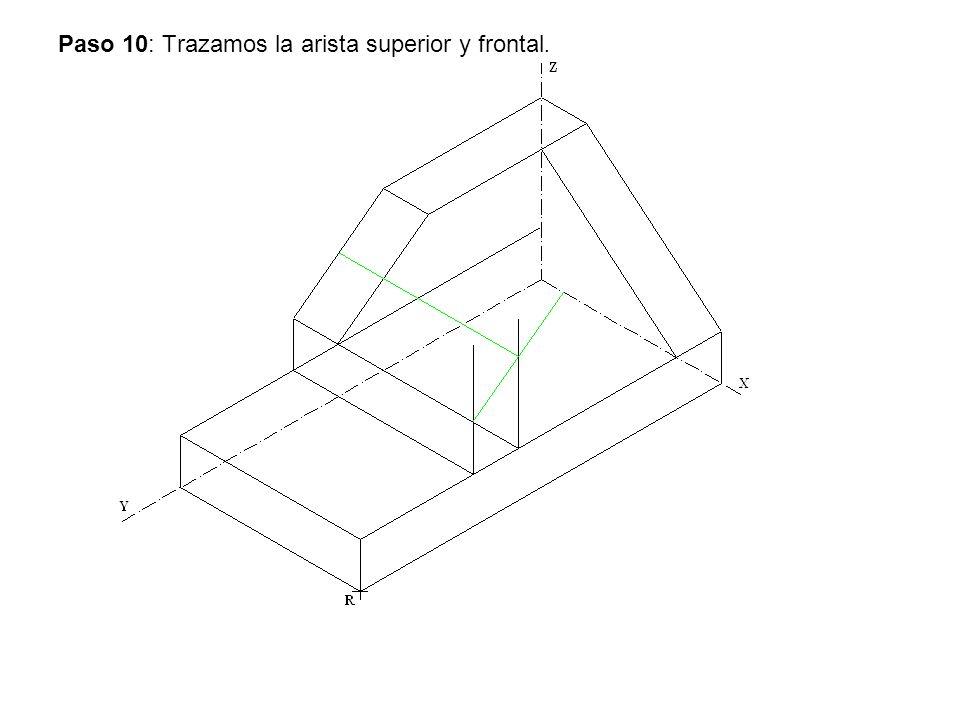 Paso 10: Trazamos la arista superior y frontal.