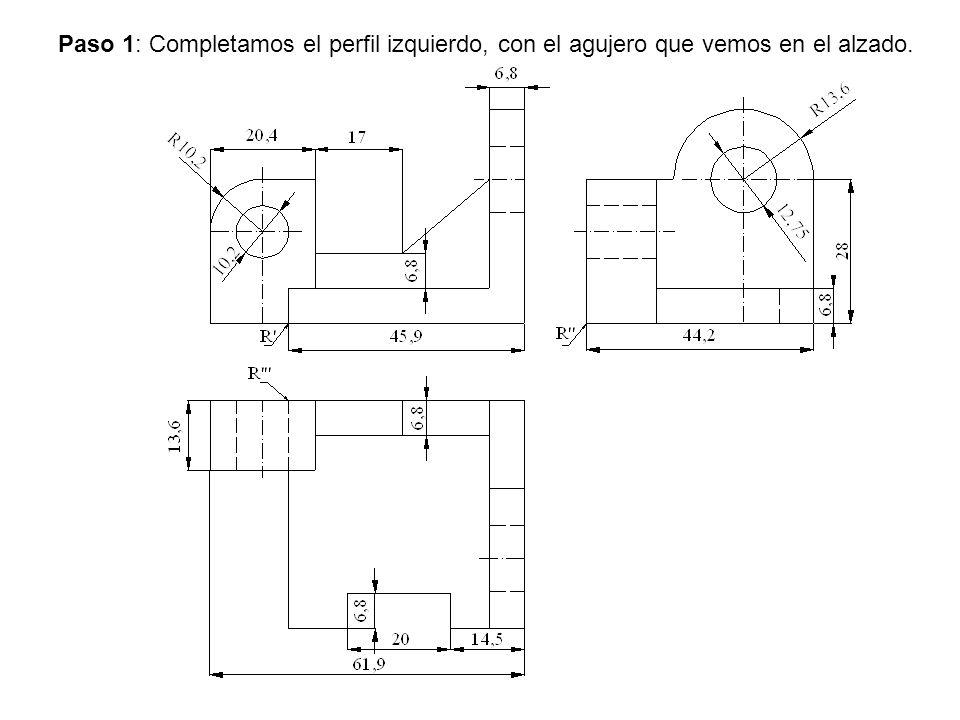 Paso 1: Completamos el perfil izquierdo, con el agujero que vemos en el alzado.