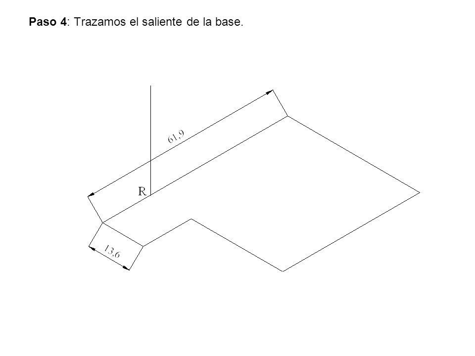 Paso 4: Trazamos el saliente de la base.