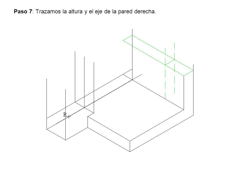 Paso 7: Trazamos la altura y el eje de la pared derecha.
