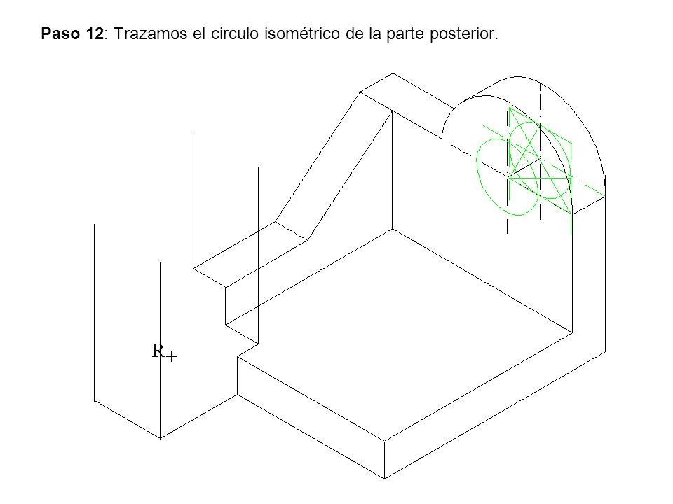 Paso 12: Trazamos el circulo isométrico de la parte posterior.
