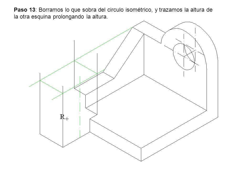 Paso 13: Borramos lo que sobra del circulo isométrico, y trazamos la altura de la otra esquina prolongando la altura.