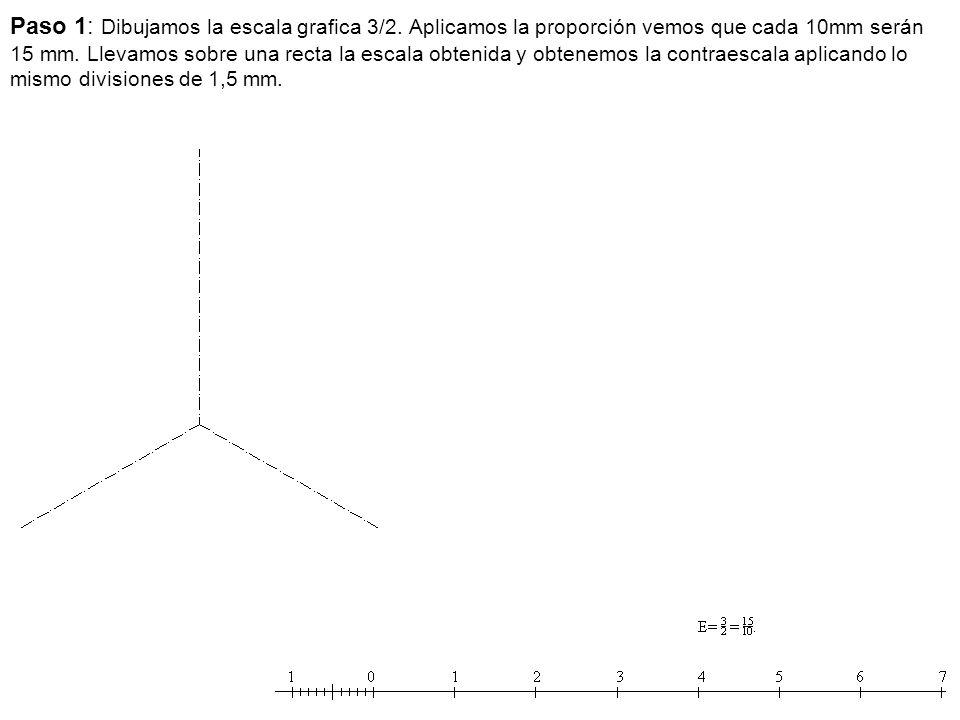 Paso 1: Dibujamos la escala grafica 3/2. Aplicamos la proporción vemos que cada 10mm serán 15 mm. Llevamos sobre una recta la escala obtenida y obtene