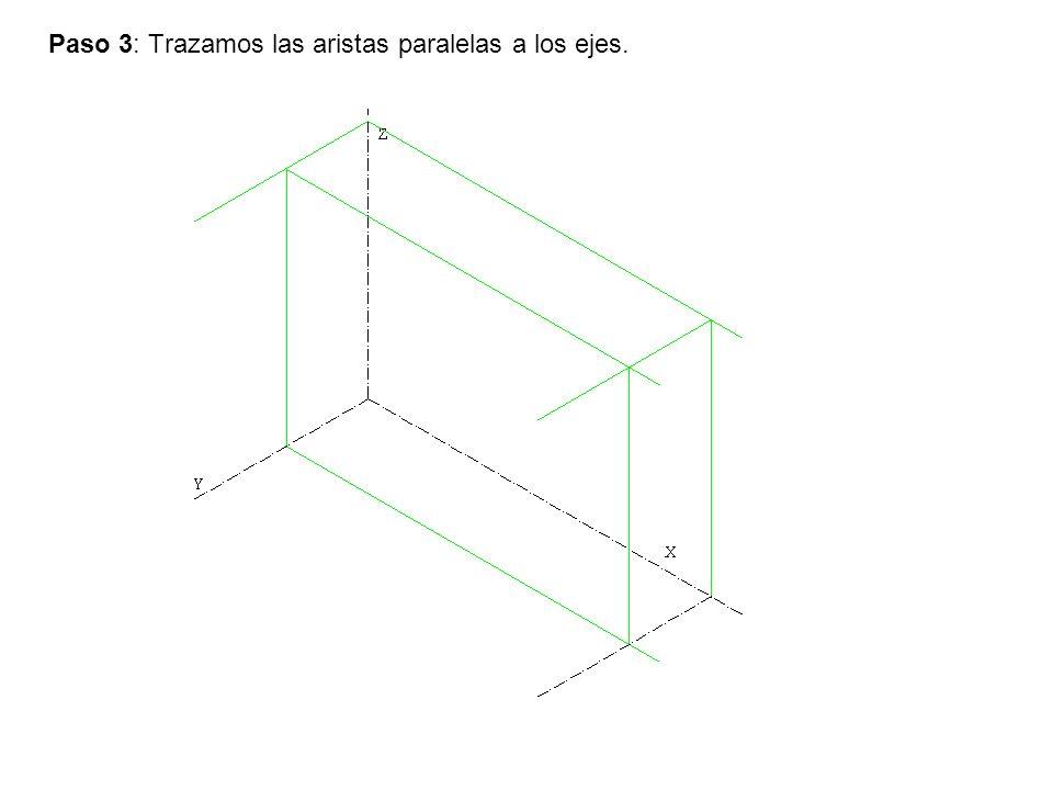 Paso 3: Trazamos las aristas paralelas a los ejes.