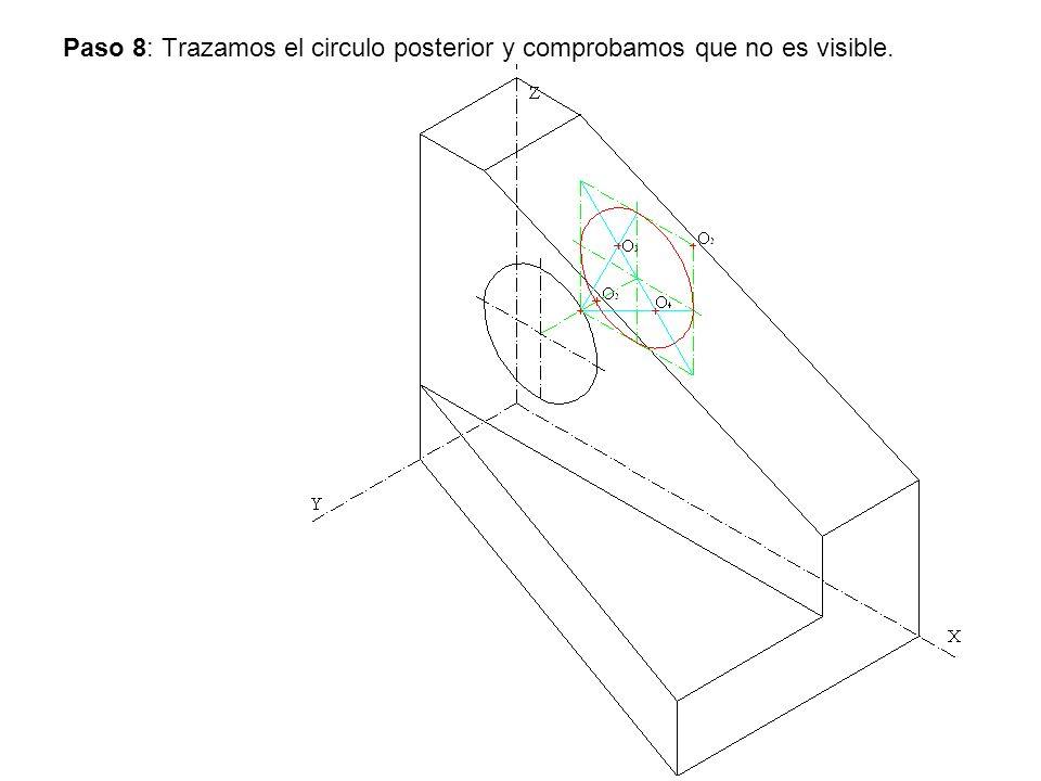 Paso 8: Trazamos el circulo posterior y comprobamos que no es visible.