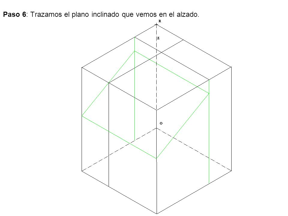 Paso 6: Trazamos el plano inclinado que vemos en el alzado.