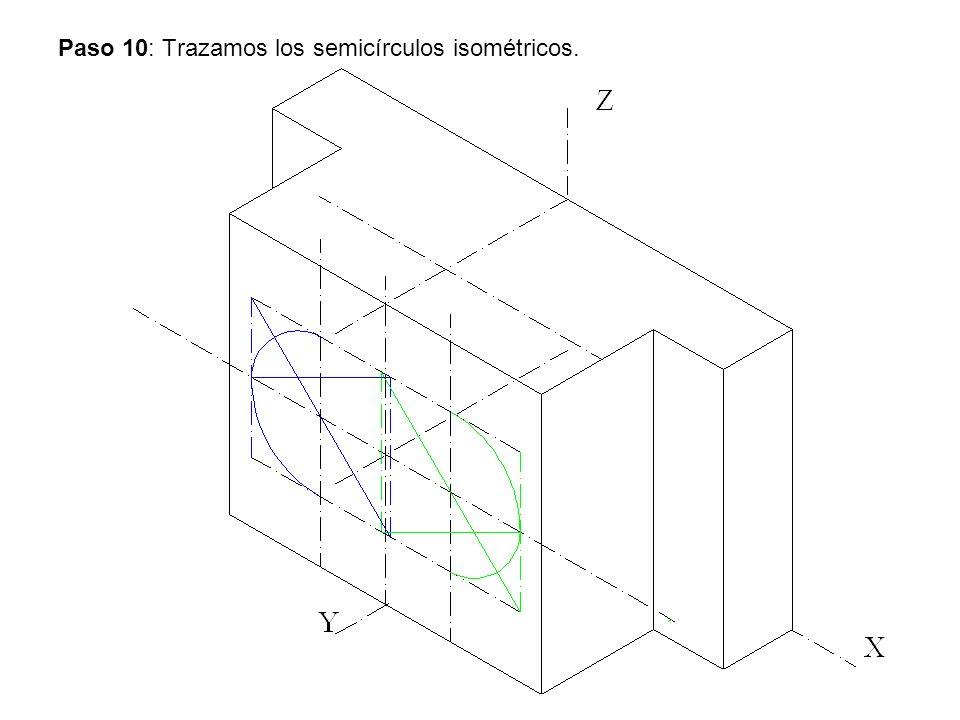 Paso 10: Trazamos los semicírculos isométricos.